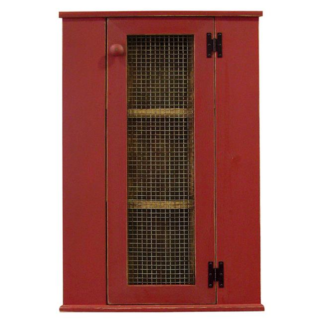 Sawdust City Corner Cabinet Top Hutch, Antique Red