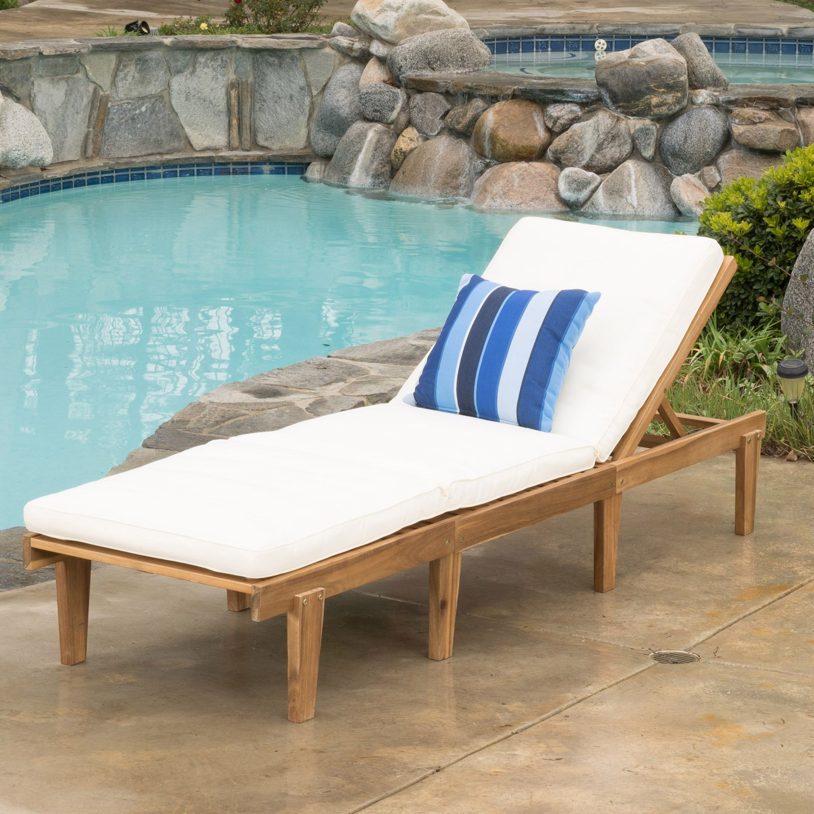 Ariana Acacia Wood Outdoor Chaise Lounge with Cushion