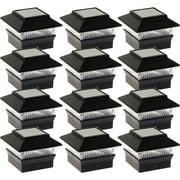 NEW Black Solar Outdoor Garden Deck Patio 4x4 PVC Fence LED Post Light (12 Pack)
