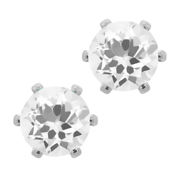 1.40 Ct Round 6mm White Quartz Brass Silver Plated Brass Stud Earrings