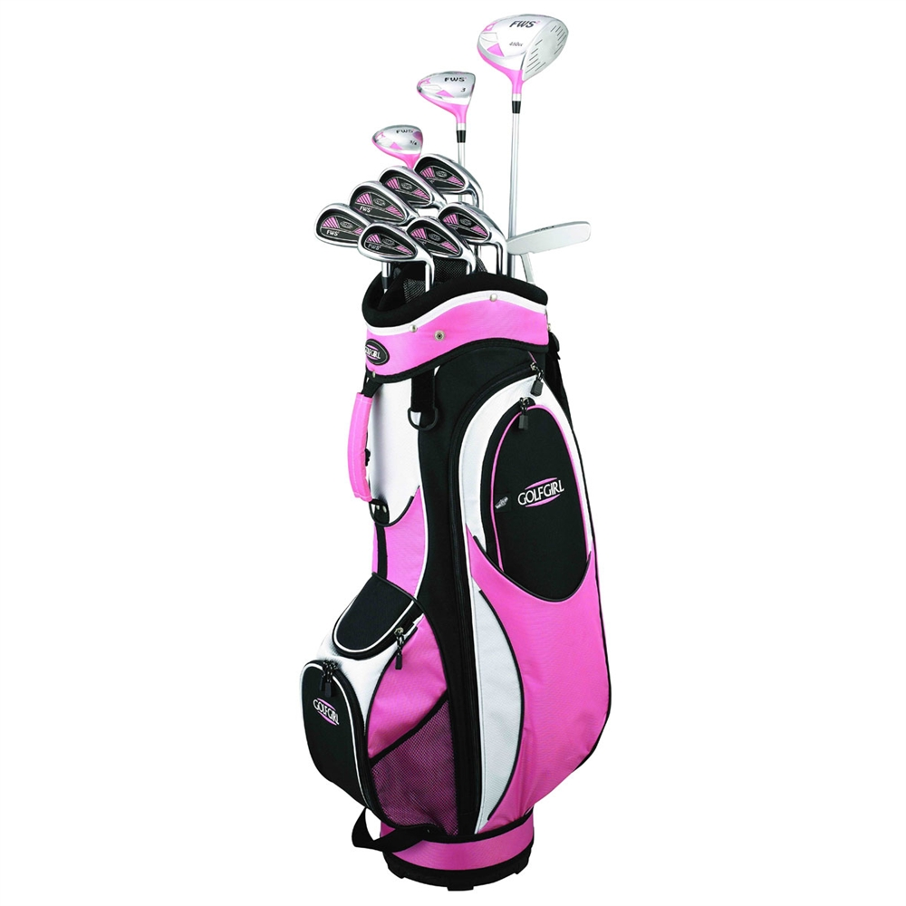 Golf Girl FWS2 PINK All Graphite Lady Hybrid Club Set RIGHT HAND & Cart BAG