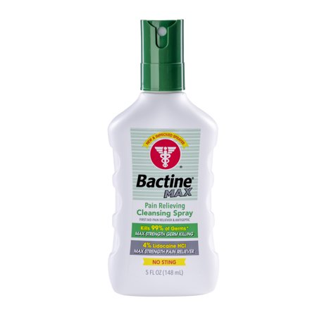 Bactine MAX First Aid Pain Relieving Spray with Lidocaine - 5 fl oz Pain Relieving Antiseptic