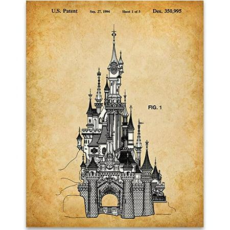 Sleeping Beauty Castle Disneyland Paris Patent Print - 11x14 Unframed Patent Print - Great Gift for Disney Fans - Halloween En Disneyland Paris