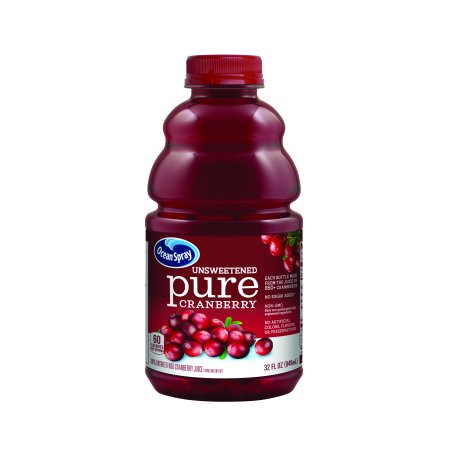 (8 Pack) Ocean Spray 100% Pure Cranberry Juice, Unsweetened, 33.8 Fl Oz