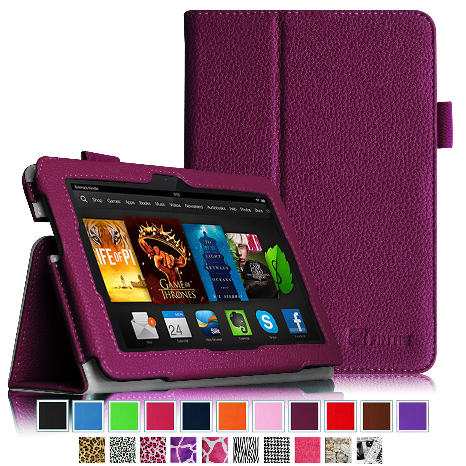 Fintie Folio Case for Kindle Fire HDX 7 - Slim Fit PU Leather Standing Cover with Auto Sleep/Wake, Purple