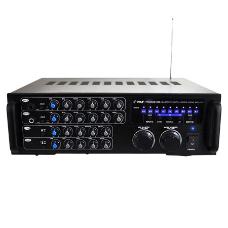 1000 Watt BT Stereo Mixer Karaoke Amplifier, Microphone/RCA Audio/Video Inputs, Mic-Talkover, Rack Mountable Amp