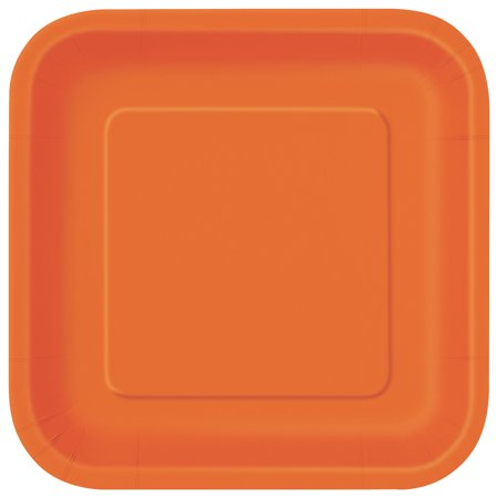 Square Paper Plates, 7 in, Orange, 16ct - Paper Square Plates