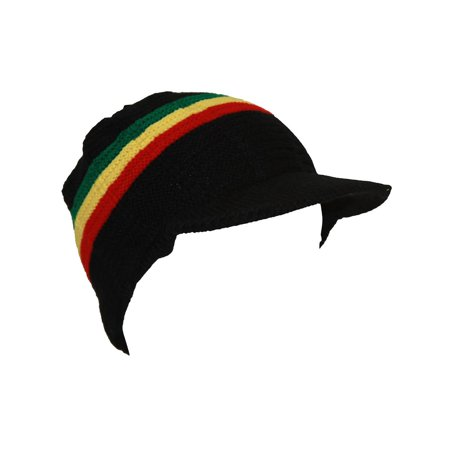 TopHeadwear's Cuffless Winter Beanie w/ Visor Brim SMALL/MEDIUM - Rasta - Rasta Hats