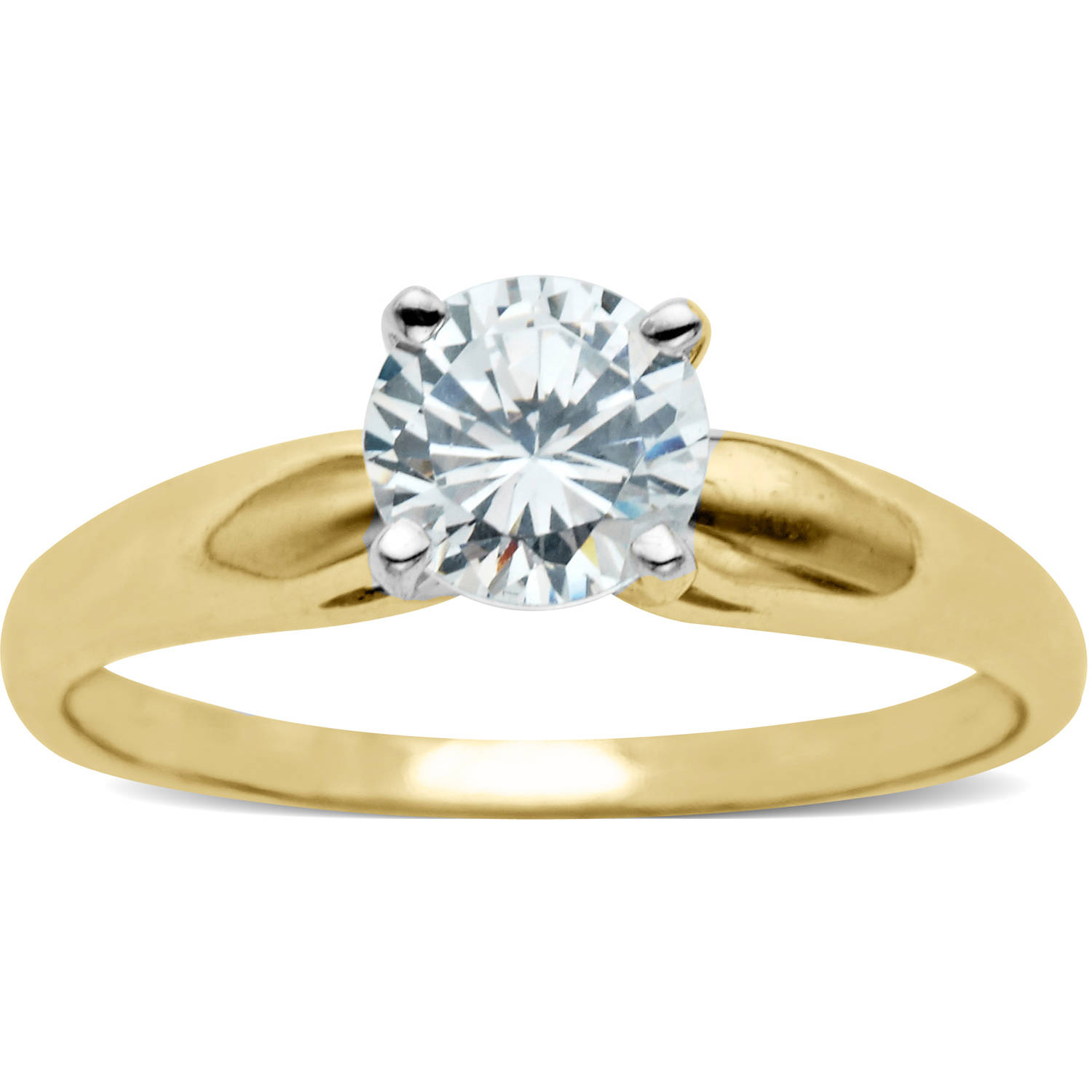 Believe by Brilliance .75 Carat T.G.W. CZ Round Solitaire 10kt Yellow Gold Engagement Ring