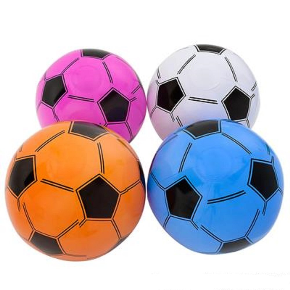 12 Inflatable Soccer Balls Soccer Ball Inflates 16'' Assorted Colors, 12 Inflatable Soccer... by