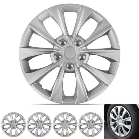 Hub Solid Rubber Wheels - BDK Hubcap Wheel Covers Toyota Camry Syle - 16 Inch Silver Replica Cover, OEM Factory Replacement (4 Pieces)