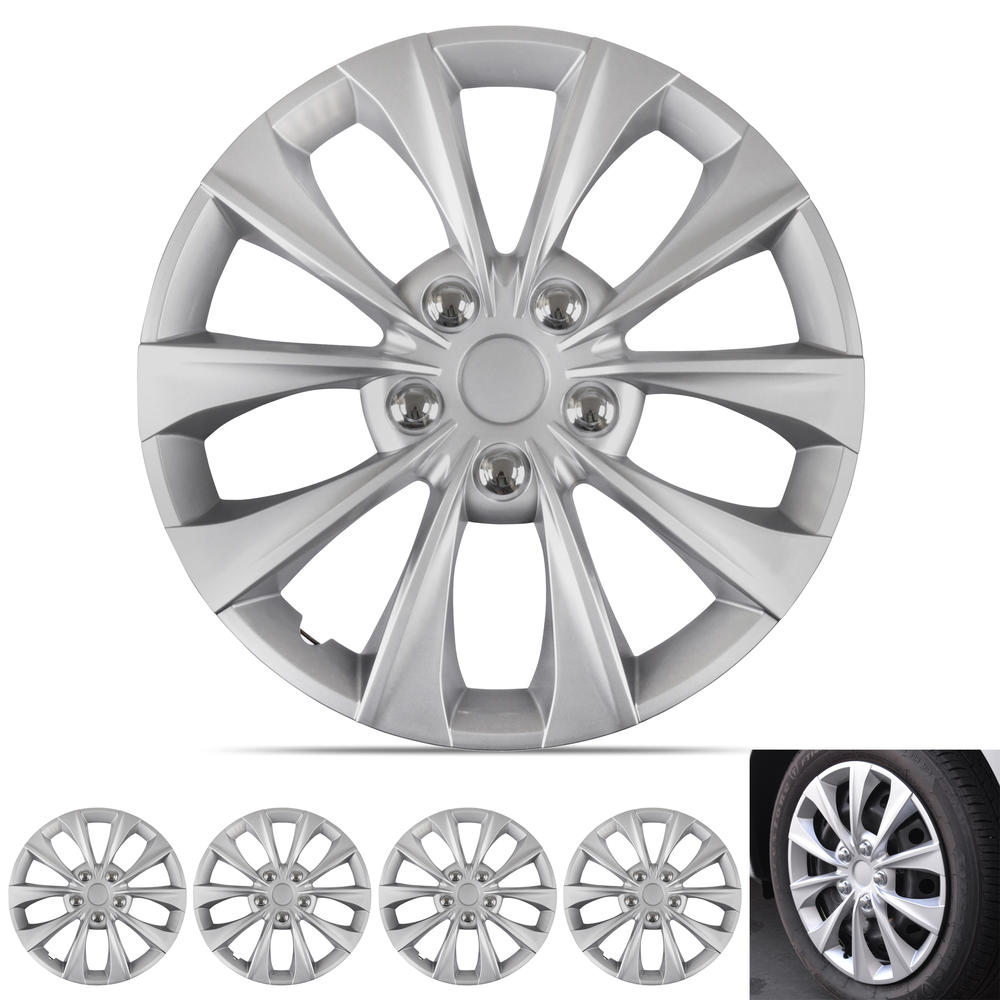 BDK Hubcap Wheel Covers Toyota Camry Syle - 16 Inch Silver Replica Cover, OEM Factory Replacement (4 Pieces)
