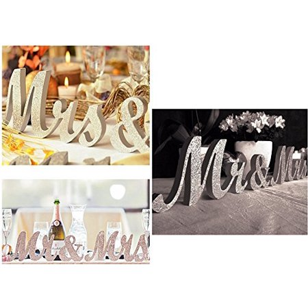 Large Metallice Gold or Silver Mr & Mrs Sign,MR MRS Wooden Letters,wedding,sweet table docoration (Gold)