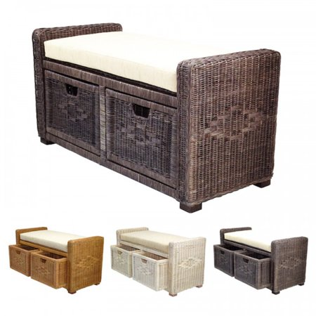 "SK New Interiors Bruno Handmade Rectangular Chest Ottoman 35"" ECO Natural Rattan Wicker with Two Drawers, Dark Brown"