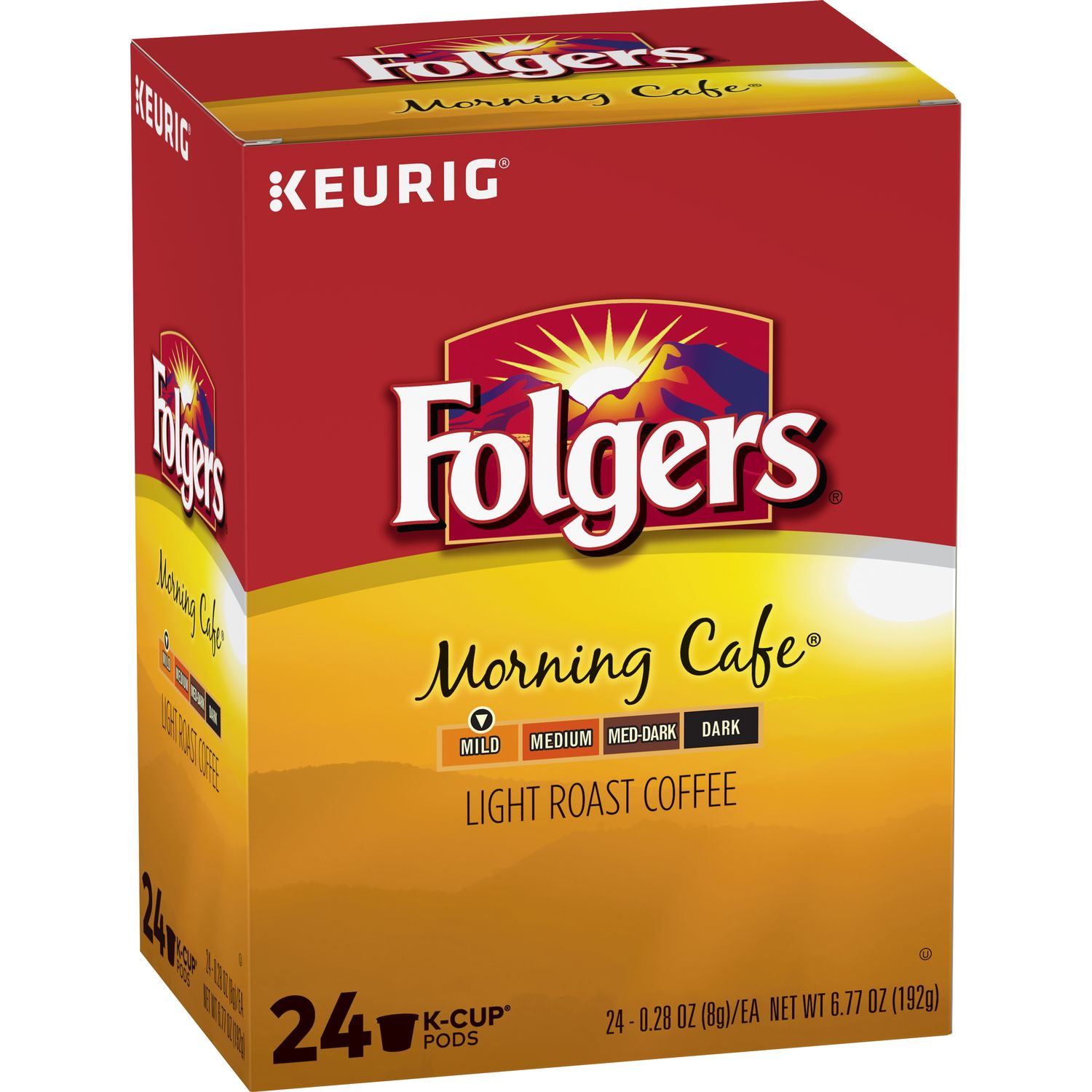 Folgers Morning Cafe, Light Roast Coffee, K-Cup Pods, 24-Count