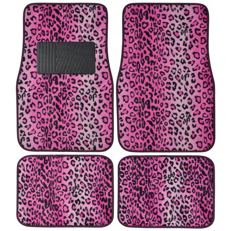BDK Leopard Car Floor Mats, Animal Prints Mat, 4 Pieces, Pink