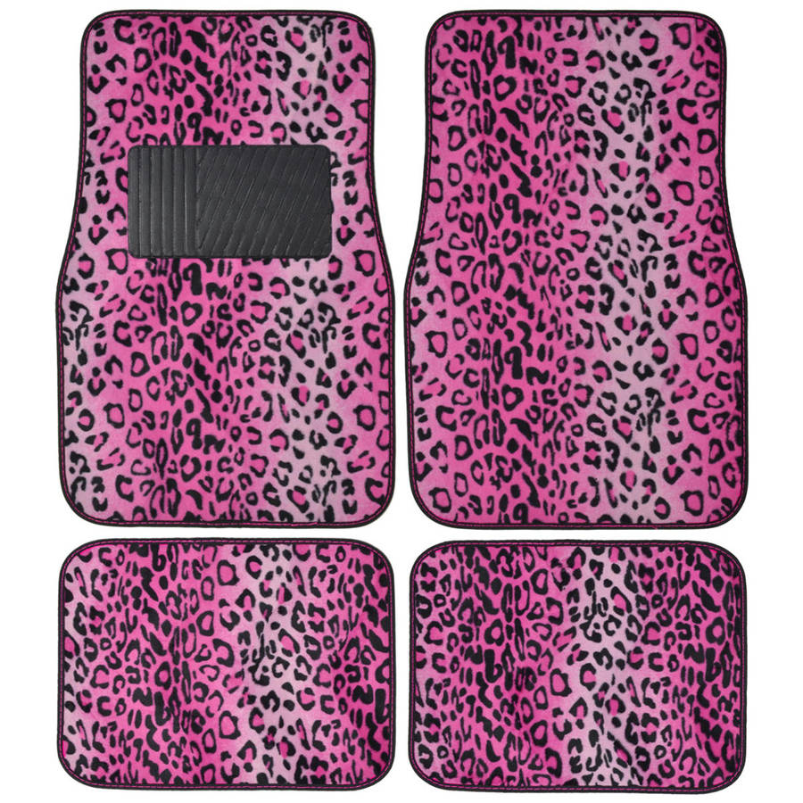 BDK Leopard Car Floor Mats, Animal Prints Mat, 4 Pieces, Pink