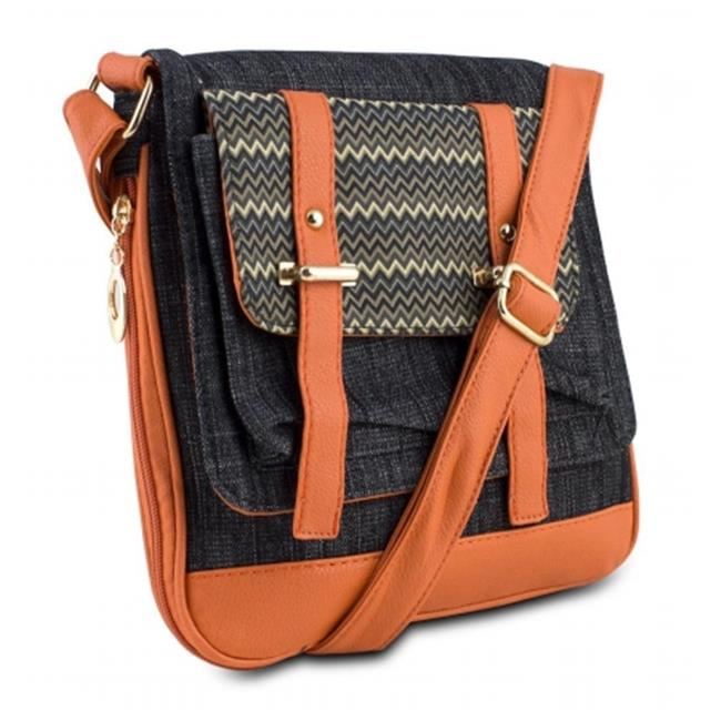 Mad Style Demi Crossbody, Black Denim/Orange