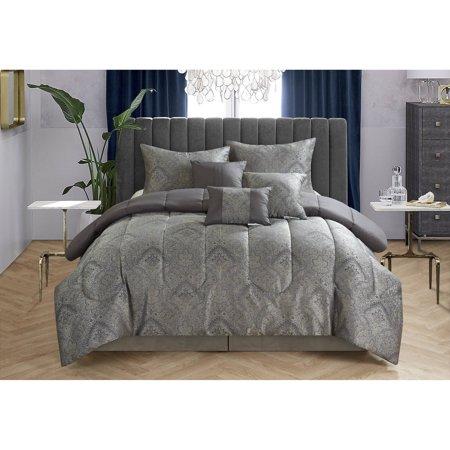 CASA Black Paisley Jacquard 7-Piece Bedding Comforter