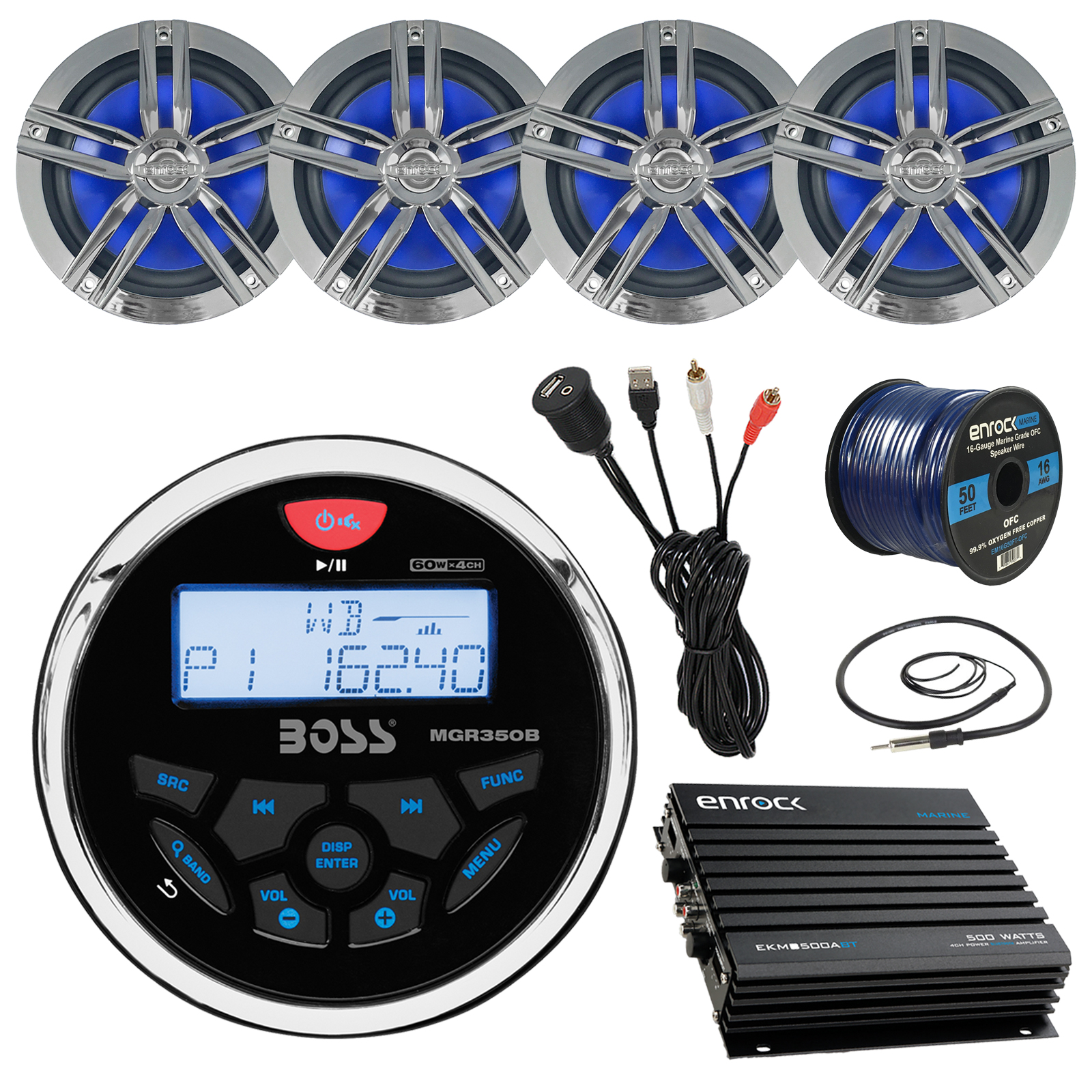 """16'-25' Bay Boat Marine System Includes: CD Bluetooth Receiver, 4 x 6.5"""" Water-Resistant Speakers, 4-Channel Amplifier, 50ft Speaker Wire, Antenna, USB Aux Interface Mount"""