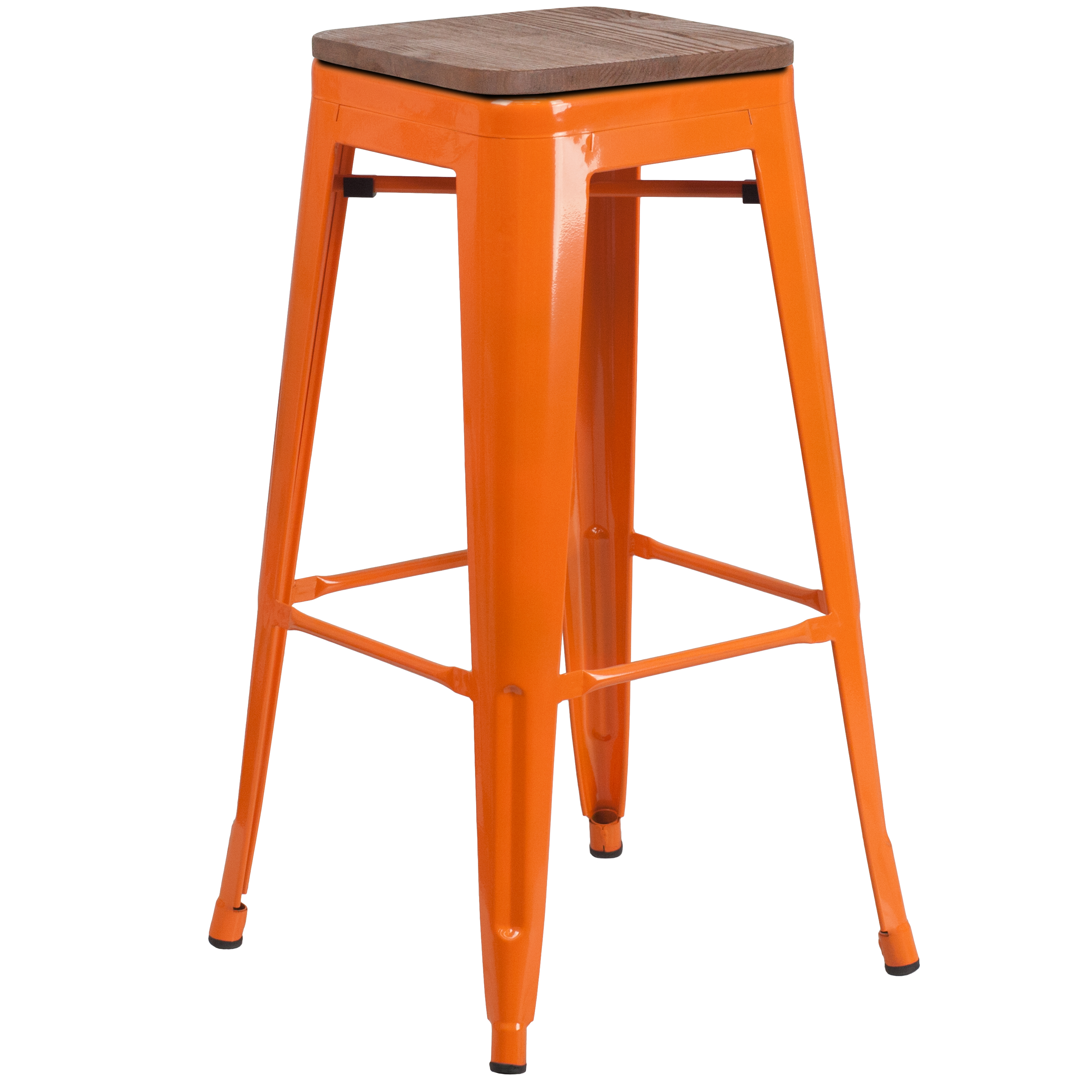 "Flash Furniture 30"" High Backless Orange Metal Barstool with Square Wood Seat"
