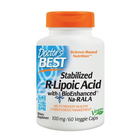 Doctor's Best Stabilized R-Lipoic Acid with BioEnhanced Na-RALA , Non-GMO, Gluten Free, Vegan, Helps Maintain Blood Sugar Levels, 100 mg 60 Veggie