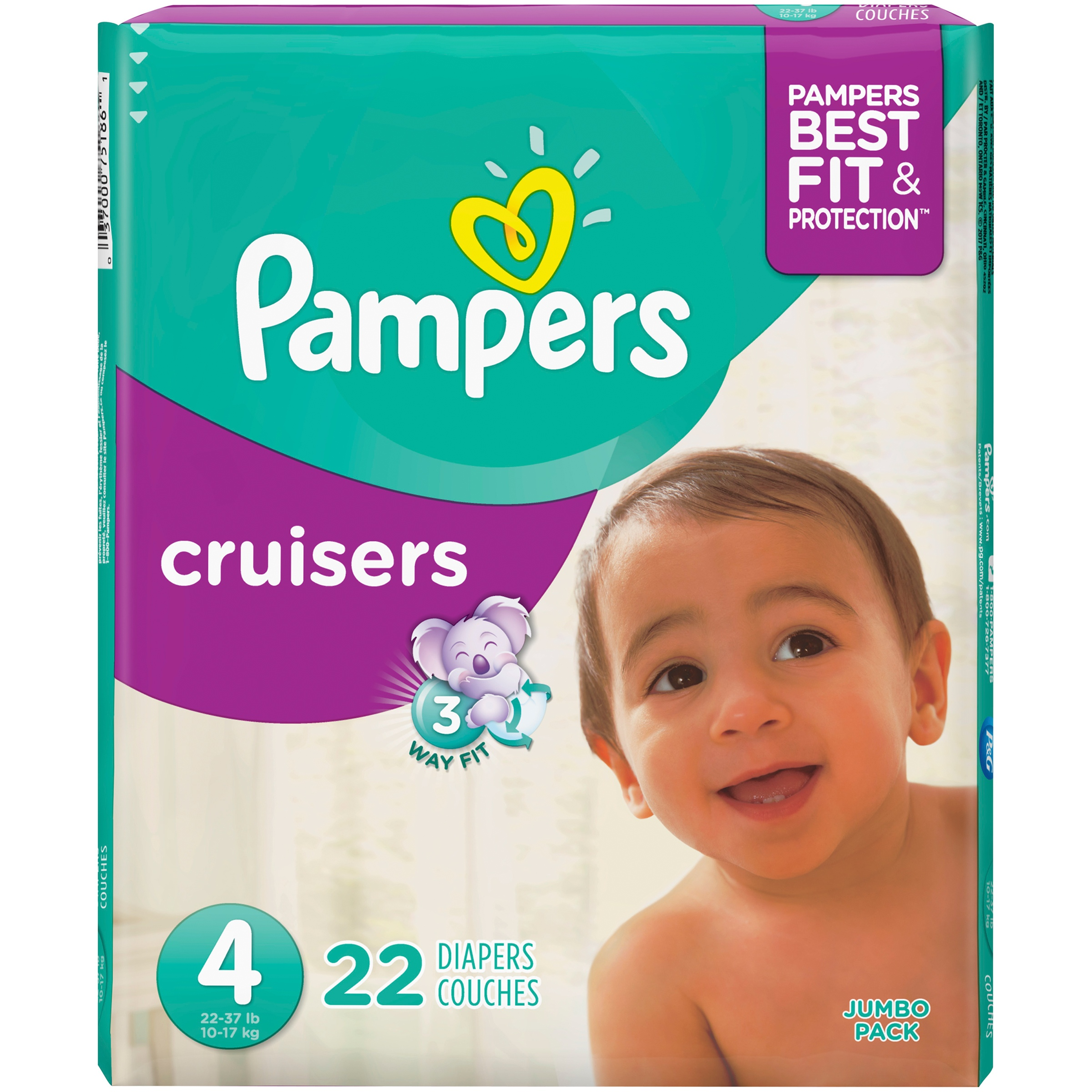Pampers Cruisers Diapers Size 4 22 Count