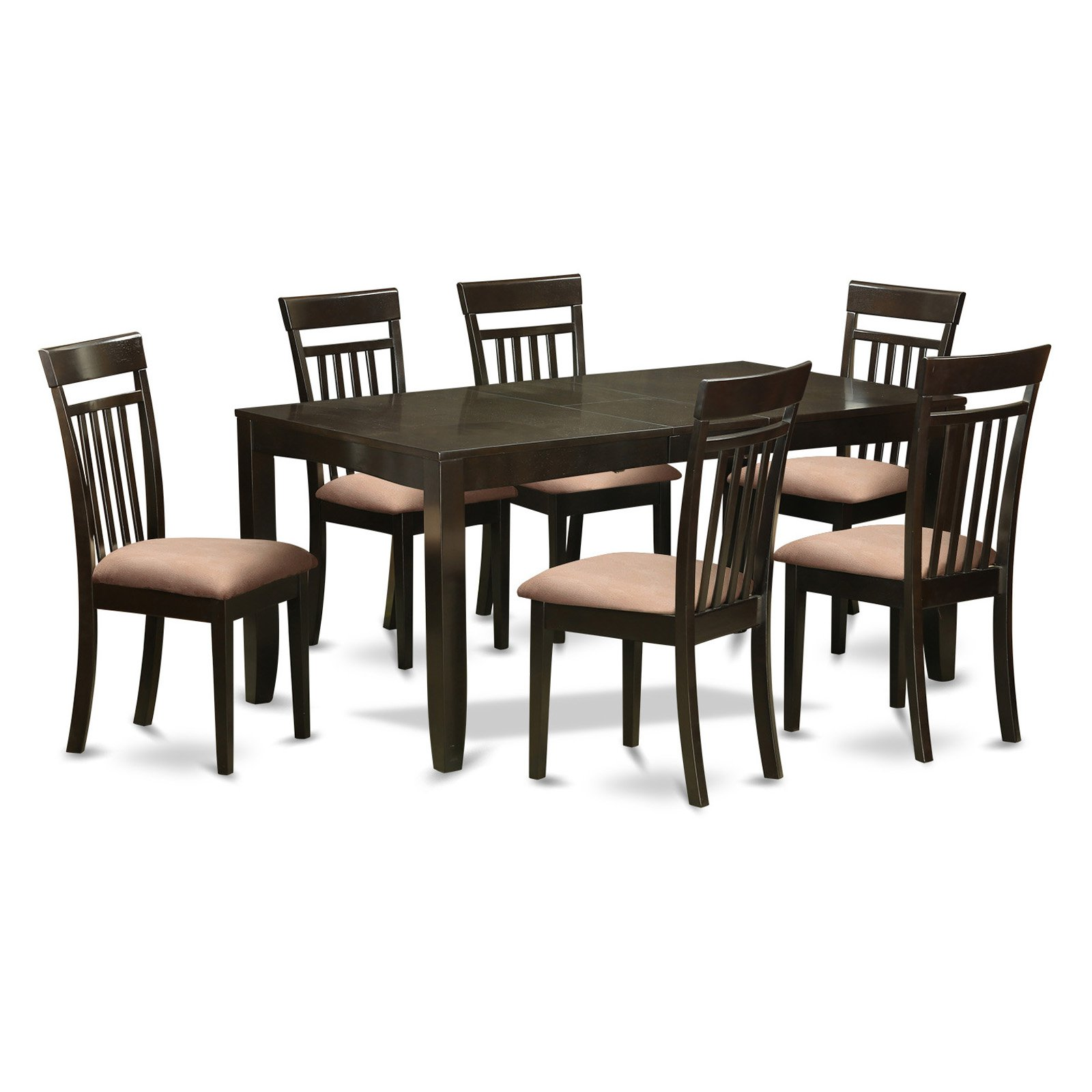 East West Furniture Lynfield 7 Piece Extension Dining Table Set with Capri Chairs