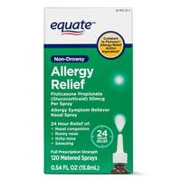 Equate Non-Drowsy Allergy Relief Spray Fluticasone Propionate (Glucocorticoid), 50 mcg Per Spray, 120 Sprays
