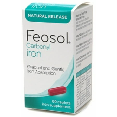 Feosol Carbonyl Iron Supplement Caplets Natural Release 60 Caplets  Pack Of 3