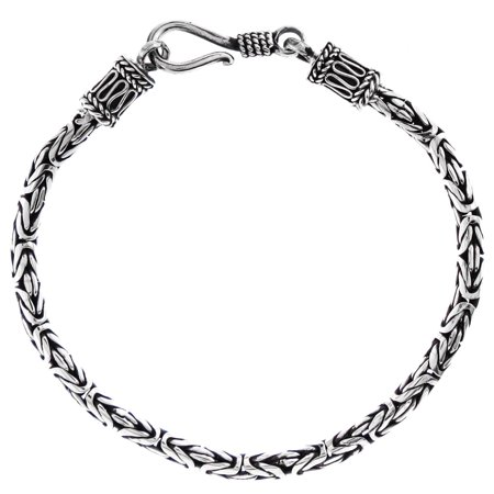 - 3mm Round Byzantine Handmade Bali Oxidized 925 Sterling Silver Chain Anklet Bracelet