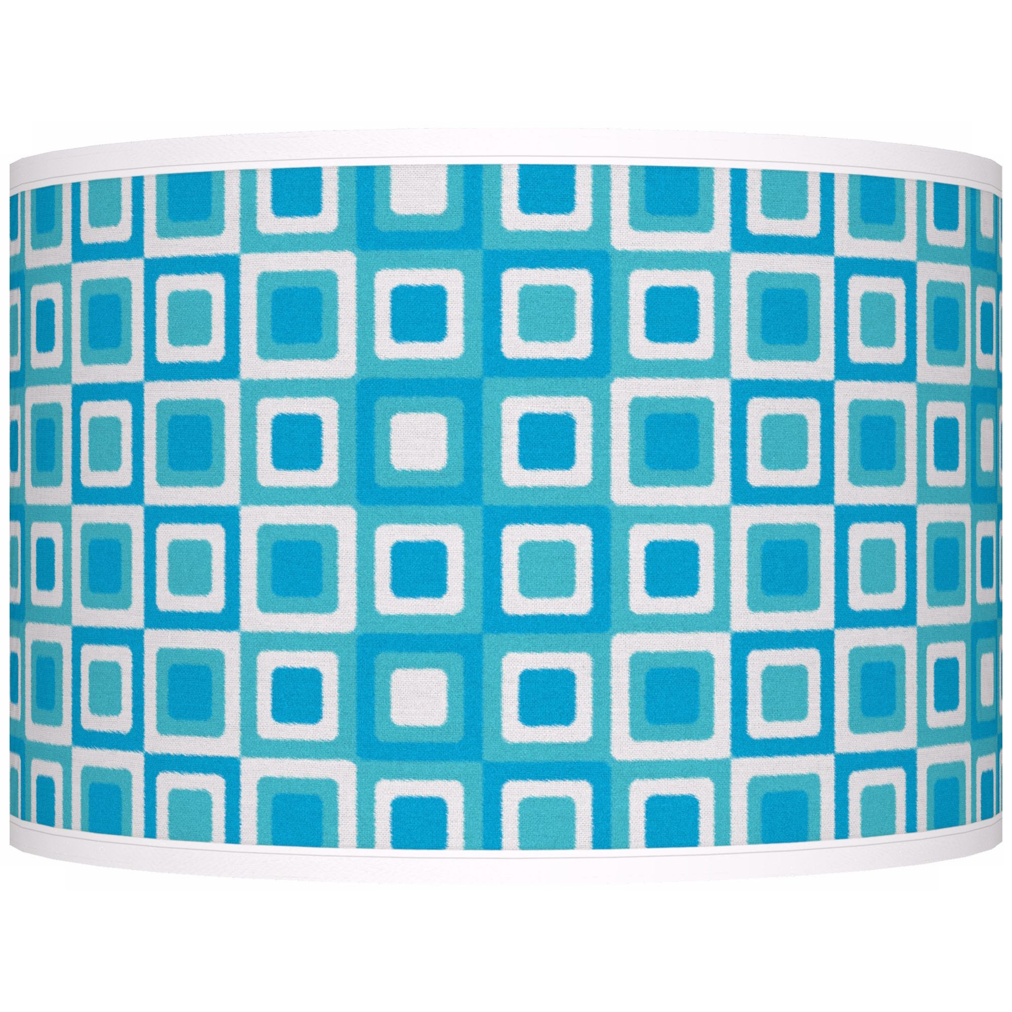 Giclee Glow Blue Boxes Linen Giclee Shade 12X12x8.5 (Spider)