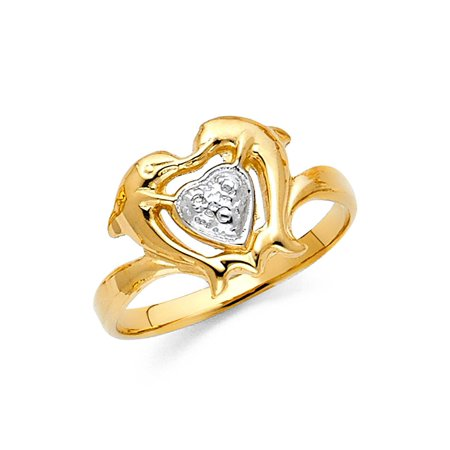 Womens Two Tone 14K Solid Gold Dolphin Heart Ring, Size