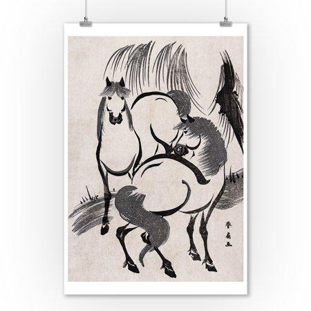 Horses under a Willow Tree Japanese Wood-Cut Print (9x12 Art Print, Wall Decor Travel (Japan Blue Willow)