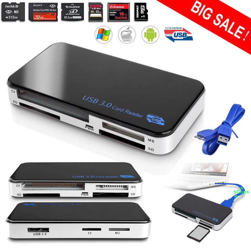 Multi Card Reader All in 1 USB 3.0 Compact Flash CF Adapter Micro SD MS XD 5Gbps
