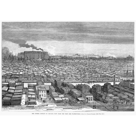 Chicago Lumber District Nthe Lumber District Of Chicago Ilinois Seen From The West Side Water Works The Factory Top Left Is The Mccormick Works At Western And Blue Island Line Engraving American 1883