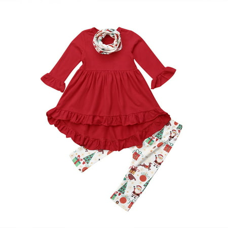 Toddler Kids Baby Girls Christmas Clothes Long Sleeve Ruffle Tops Dress+Leggings Pants scarf Outfits Set ()