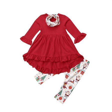 Toddler Kids Baby Girls Christmas Clothes Long Sleeve Ruffle Tops Dress+Leggings Pants scarf Outfits Set - Children Christmas Clothing