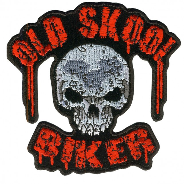 """OLD SKOOL BIKER, Outstanding Quality Rayon, Saw-On / VELCRO PATCH - 11"""" x 11"""""""