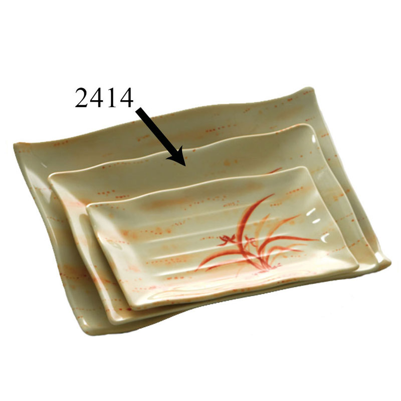 Gold Orchid 13 1/2 Inch X 9 1/8 Inch Wave Rectangular Plate/Set of 12
