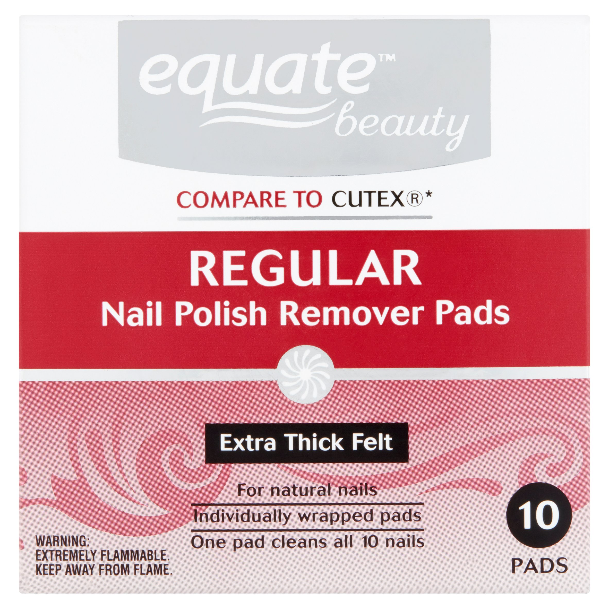 Equate Nail Polish Remover Pads, 10 Ct