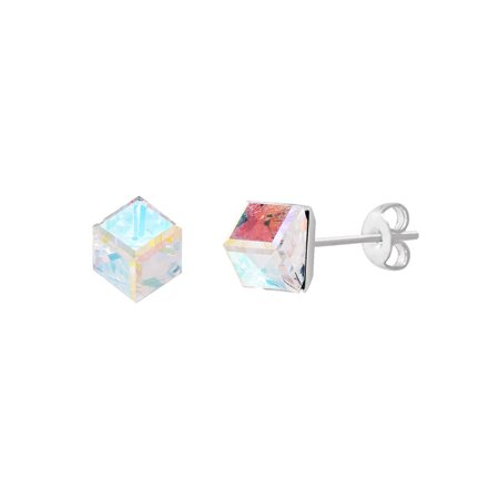 Faceted Crystal Cubed Stud Earring made with Swarovski Crystals