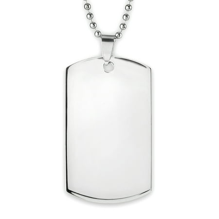 Surgical Steel Dog Tag Pendant (Men's Mirror Finish Stainless Steel Engravable Dog Tag Pendant)