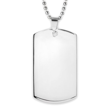 Men's Mirror Finish Stainless Steel Engravable Dog Tag Pendant - Engravable Dog Tags