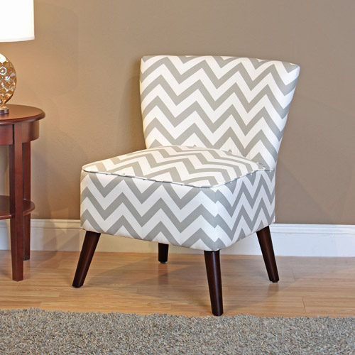 Dorel Home Kinsley Chevron Accent Chair, Gray and White