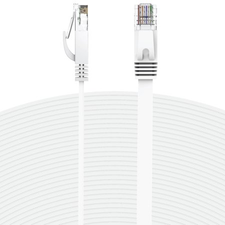 Fosmon Ethernet Cable Flat (25 Feet - White), Supports RJ45 Cat6 / Cat5e / Cat5 Standards, 250MHz, 1.0Gbps - Computer Networking Patch Cable Cord