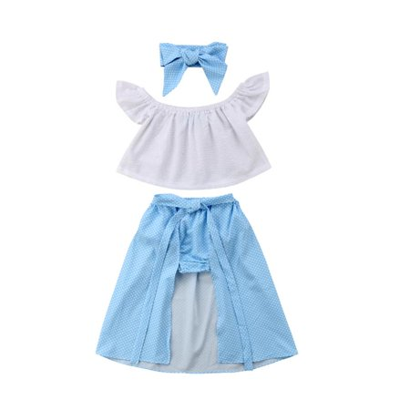 Hot Kids Girl Summer Clothes Off shoulder Lace White Tops Shorts Bow Skirt Outfit - Hot Girl With Clothes