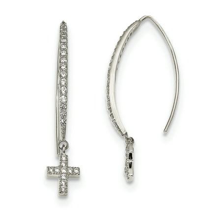 (925 Sterling Silver CZ Cross Threader (6.7x38.2mm) Earrings)