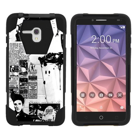 Alcatel One Touch Fierce XL 5054N Shock Fusion Heavy Duty Dual Layer Kickstand Case -  Rock Like (Pink And Grey Nikes With Cheetah Laces)