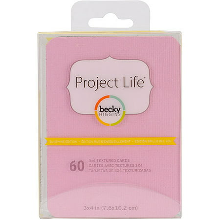 Project Life 3  X 4  Textured Cardstock  60 Pack  Sunshine Edition